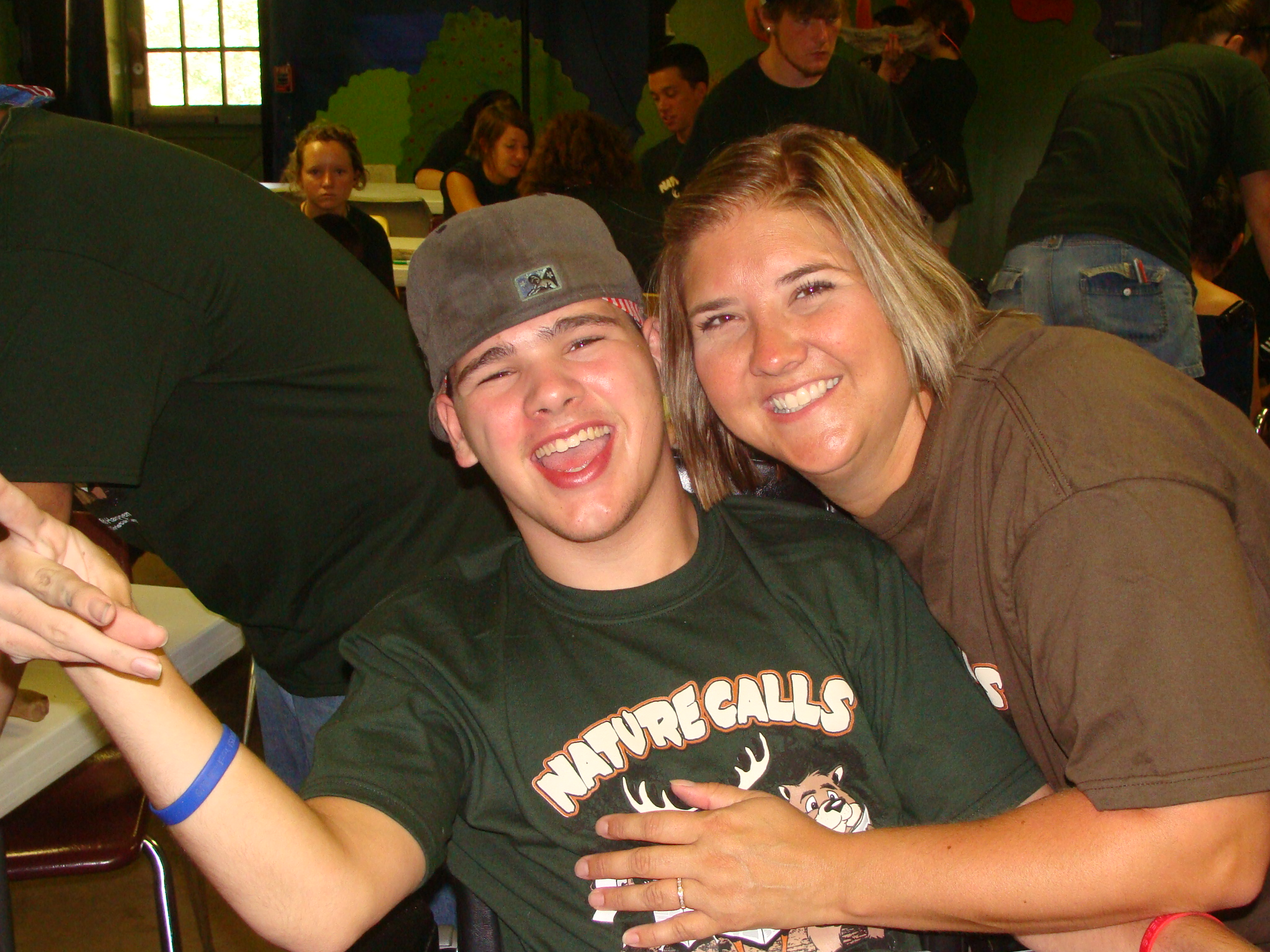 Nick and Carrie camp friends